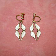 SALE Norway White Enamel on Sterling Screw-Back Earrings
