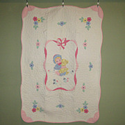 SALE Vintage Hand-Made Crib Quilt with Appliques