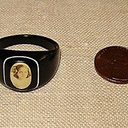 SALE Black Celluloid Ring with Young Girl's Photograph