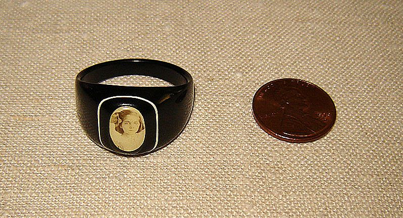 Black Celluloid Ring with Young Girl's Photograph