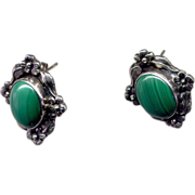 SALE Sterling Post Earrings with Cabochon Malachite Stones