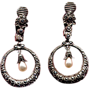 SALE Sterling & Marcasite Drop Clip Earrings with Pearls