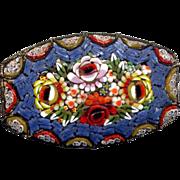 Large Italian Mosaic Pin with Blue Venetian Glass