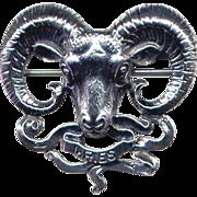 Cini Sterling Zodiac-Sign Aries Ram Pin