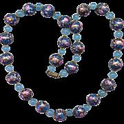 SALE Blue Venetian Glass Bead Necklace