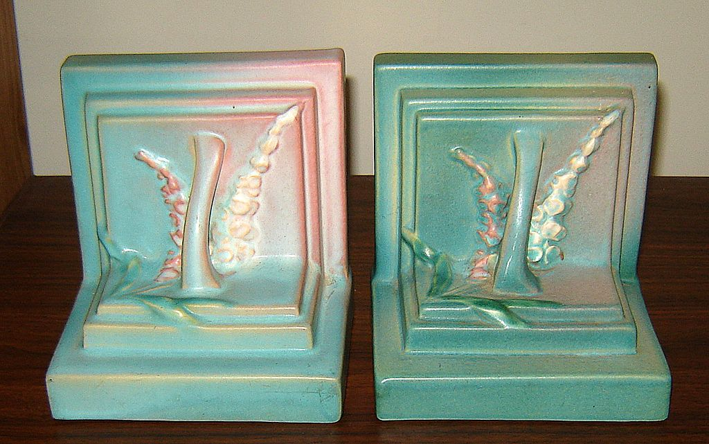 Pair of Roseville Art Pottery Foxglove Bookends from