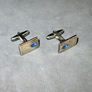 SALE Denmark Sterling Blue Stone Cufflinks