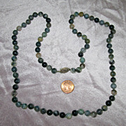 """SALE 30"""" Moss Agate Bead Necklace with Sterling Silver Clasp"""