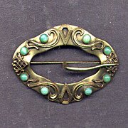SALE Edwardian Brass Sash Pin with Faux Turquoise Stones
