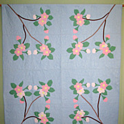 "SALE Vintage Appliqued ""Cherry Blossom"" Quilt"