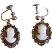 SALE Silver Shell Cameo Screw-Back Earrings with Marcasites