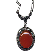 Sterling & Carnelian Pendant Necklace with Marcasites