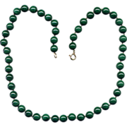 Malachite Bead Necklace with 14K Gold Clasp