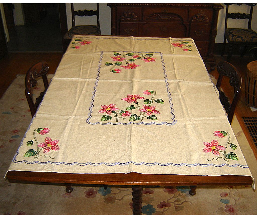 Natural Linen Tablecloth with Colorful Hand Embroidery
