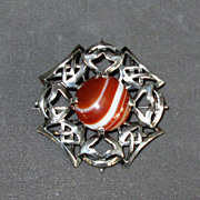 SALE Scottish Sterling Brooch with Red Banded Agate