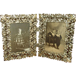 Fancy Vintage Double Folding Tabletop Picture Frame
