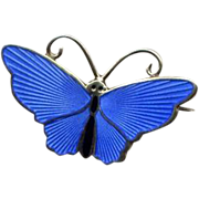 Norway D-A Sterling Blue Enamel Butterfly Pin