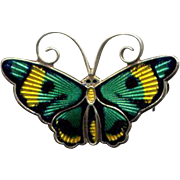 D-A Sterling Green, Yellow, & Black Enamel Butterfly Pin