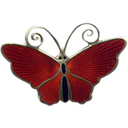 Norway D-A Sterling Red Enamel Butterfly Pin