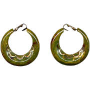 Green Vintage Catalin Bakelite Clip Hoop Earrings