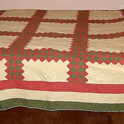 "SALE Red and Green ""Triple Irish Chain"" Patchwork Quilt"
