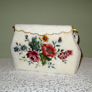 SALE PENDING White Beaded Handbag with Petit Point Roses