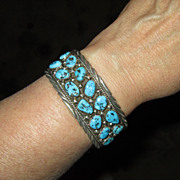 SALE Sterling Silver Cuff Bracelet with Turquoise Stones
