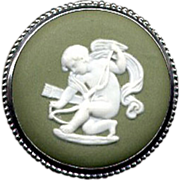 Round Green Wedgwood Sterling Cameo Pin