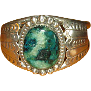 Signed Navaho Silver Cuff Bracelet with  Azurite Stone