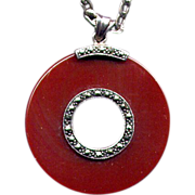 SALE Sterling Carnelian Pendant Necklace with Marcasites
