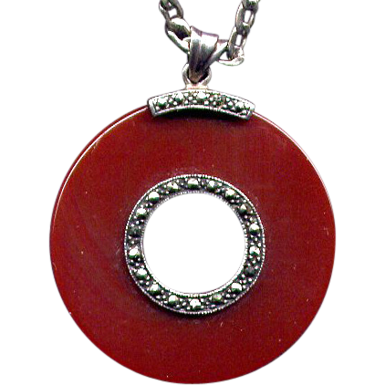 Sterling Carnelian Pendant Necklace with Marcasites