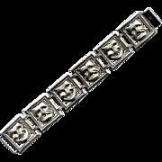 Beau Sterling Comedy/Tragedy Mask Link Bracelet