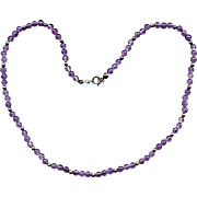 """16"""" Cabochon Amethyst and Silver Bead Necklace"""