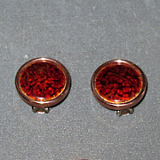 "Copper Clip Earrings with Red Enamel Marked ""Matisse Renoir"""