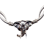 SALE Sterling Silver Elephant Necklace