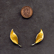 D-A David Andersen Yellow Enamel Leaf Earrings