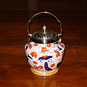 English Ironstone Polychrome Pottery Biscuit Jar