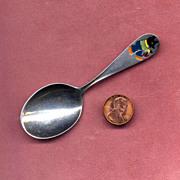 SALE Webster Sterling Baby Spoon with Enameled Bear