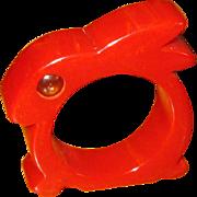 SOLD Red Bakelite Rabbit Napkin Ring with Glass Eyes