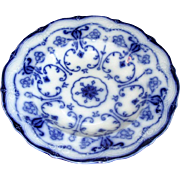 """English Flow Blue Pottery """"Conway"""" Soup Bowl"""