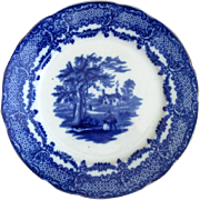 "English Flow Blue ""Old Curiosity Shop"" Plate"
