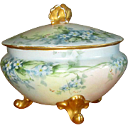 Hand-Painted Porcelain Powder Box with Forget-Me-Nots