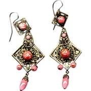 SALE Costume Long Brass Drop Earrings with Faux Coral