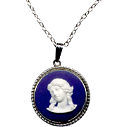 Sterling Silver & Wedgwood Pottery Cameo Pendant