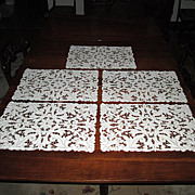 SALE Set of Five Placemat Doilies with Fancy Cutwork
