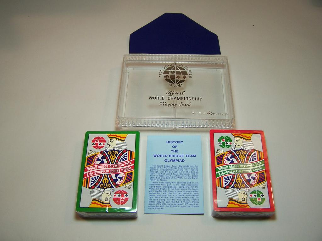 Double Deck Stancraft Playing Cards, World Bridge Team Olympiad, 1972