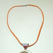 """Poker Chip Necklace, """"Harrah's New Orleans,"""" Sterling Silver, Suede"""
