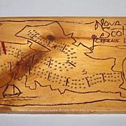 "Hand Carved Wood ""Nova Scotia"" Cribbage Board"