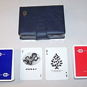 """Double Deck Waddington's """"Dohm Group"""" Adv. Playing Cards, Siriol Clarry """"Four Elements"""" Designs, c.1964"""