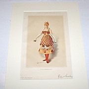 "Society Magazine Bijou Portrait, ""Kate Santley"" w/ Playing Card Fashion, Hand Colored ..."